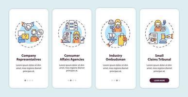 servizi di protezione dei consumatori onboarding schermata della pagina dell'app mobile con concetti vettore