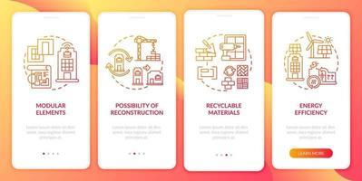 futuro edificio sul posto di lavoro onboarding schermata della pagina dell'app mobile con concetti vettore