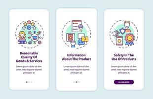 Schermata della pagina dell'app per dispositivi mobili di onboarding dei diritti fondamentali dei consumatori con concetti vettore