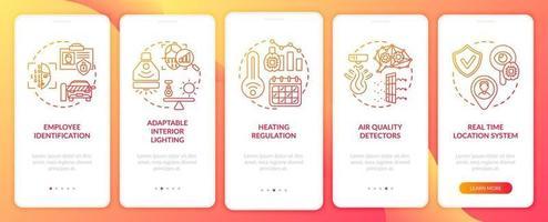 schermata della pagina dell'app mobile di onboarding futuro sul posto di lavoro intelligente con concetti vettore