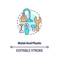 icona del concetto di metallo e plastica vettore
