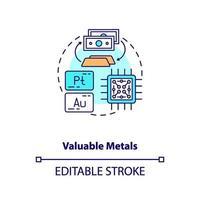 icona del concetto di metalli preziosi vettore