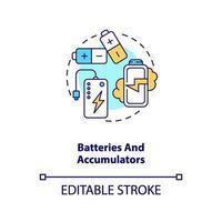 icona del concetto di batterie e accumulatori vettore