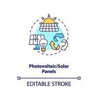 icona del concetto di pannelli fotovoltaici e solari vettore