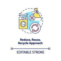 ridurre, riutilizzare, riciclare l'icona del concetto di approccio vettore