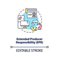 icona del concetto di responsabilità estesa del produttore vettore