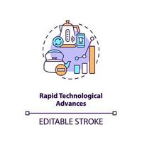 icona del concetto di rapidi progressi tecnologici vettore