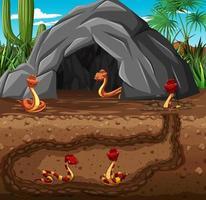 tana sotterranea degli animali con la famiglia dei serpenti vettore
