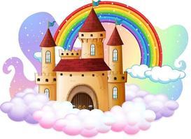 castello con arcobaleno sulla nuvola isolato su sfondo bianco vettore