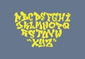 illustrazione vettoriale di graffiti alfabeto