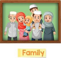carta di parola inglese educativa dei membri della famiglia musulmana vettore