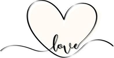 cuore bianco disegnato a mano con carattere di amore vettore