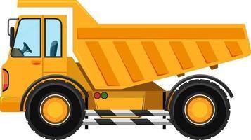 autocarro con cassone ribaltabile pesante in stile cartone animato su sfondo bianco vettore