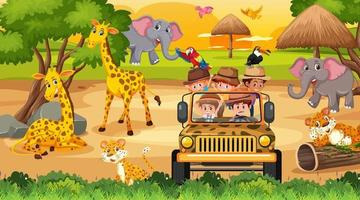 safari alla scena del tramonto con molti bambini che guardano gli animali vettore