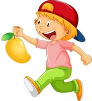 personaggio dei cartoni animati di ragazza felice che tiene un mango vettore