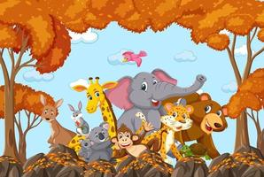 gruppo di animali selvatici nella scena della foresta autunnale vettore