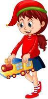ragazza carina che indossa il cappello di Natale e gioca con il suo giocattolo su sfondo bianco vettore