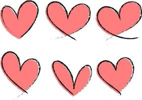 set di diversi tipi di cuore rosa disegnato a mano isolato vettore