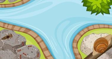 vista dall'alto della scena del giardino fluviale con molti insetti vettore