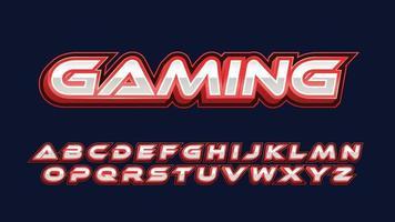 tipografia da gioco futuristica rossa e cromata vettore