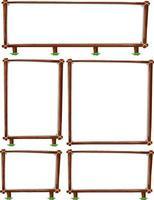 set di cornice in legno vuota isolato su sfondo bianco vettore