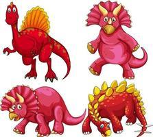 set di personaggio dei cartoni animati di dinosauro rosso vettore