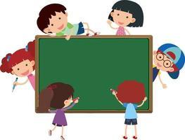 banner vuoto con molti bambini in stile cartone animato isolato vettore