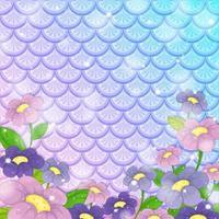 sfondo di squame di pesce fantasia con molti fiori vettore
