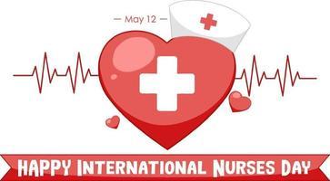 carattere felice giornata internazionale degli infermieri con croce medica simbolo vettore