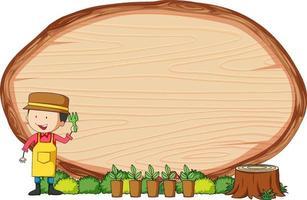 tavola di legno vuota di forma ovale con i bambini doodle personaggio dei cartoni animati vettore