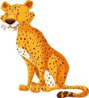 personaggio dei cartoni animati di leopardo isolato su sfondo bianco vettore