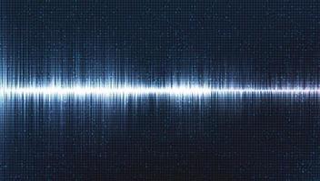 onda sonora digitale hi-tech scala richter bassa e alta con vibrazione del cerchio su sfondo azzurro, concetto di diagramma delle onde di tecnologia e terremoto, design per studio musicale e scienza, illustrazione vettoriale. vettore