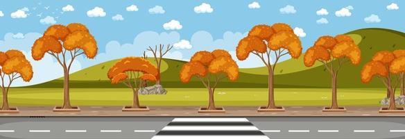 parcheggiare lungo la strada nella scena orizzontale di stagione autunnale durante il giorno vettore