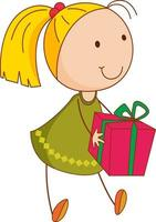 un personaggio dei cartoni animati della ragazza che tiene una confezione regalo in stile doodle isolato vettore