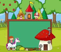 banner lavagna vuota nella scena della foresta con il personaggio dei cartoni animati di fiaba e gli elementi vettore