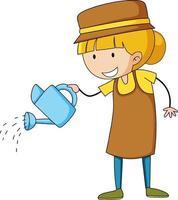 personaggio dei cartoni animati di doodle piccolo giardiniere vettore
