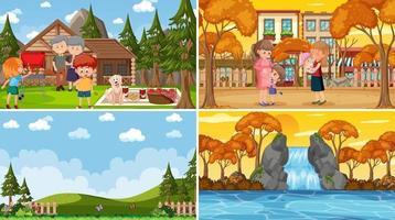 set di scene di natura diversa in stile cartone animato vettore