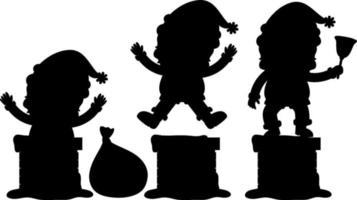 set di personaggio dei cartoni animati di Babbo Natale silhouette vettore