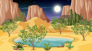 paesaggio della foresta del deserto alla scena notturna con oasi vettore