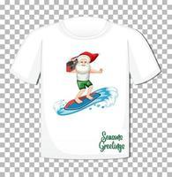 personaggio dei cartoni animati di Babbo Natale sulla maglietta isolato vettore