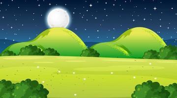 scena di paesaggio prato vuoto di notte vettore