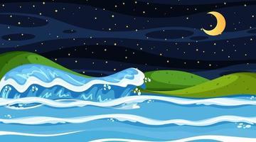 paesaggio della spiaggia alla scena notturna con le onde dell'oceano vettore