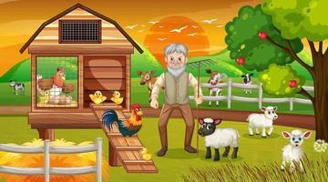 fattoria alla scena del tramonto con vecchio contadino e animali da fattoria vettore