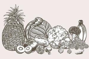 le icone disegnate a mano dell'alimento vegano scarabocchiano insieme includono il pomodoro, la patata, l'aglio, l'uva, la banana, i broccoli, il cavolo ecc. vettore