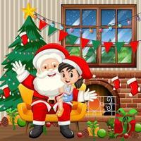 Babbo Natale seduto sulle sue ginocchia con ragazza carina a casa scena vettore