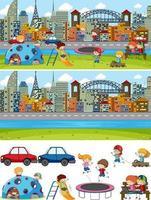 set di sfondo diverse scene orizzontali con personaggio dei cartoni animati di doodle kids vettore