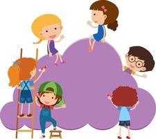 forma di nuvola di banner vuoto con molti personaggi dei cartoni animati per bambini vettore