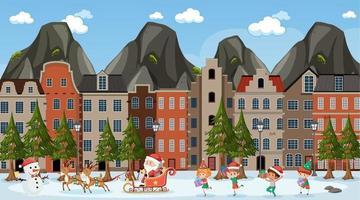 tema della stagione natalizia con Babbo Natale e molti bambini che camminano sulla scena della strada vettore
