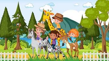 scena dello zoo con molti bambini che giocano con gli animali dello zoo vettore