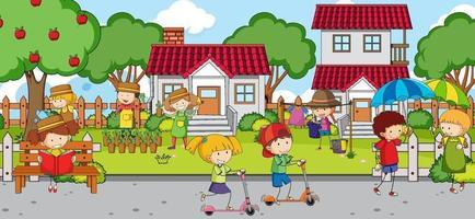 scena all'aperto con molti bambini che giocano al parco giochi vettore